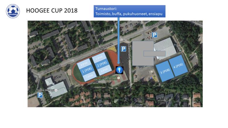 Hoogee Cup 2018 turnausalue ja pysäköintipaikat